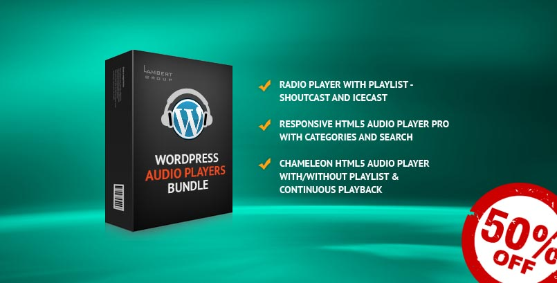 HTML5 Audio Players WordPress Bundle 50% Discount