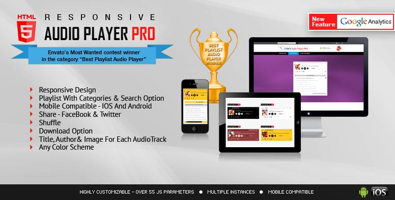 Responsive HTML5 Audio Player PRO jQuery Plugin - Audio Player HTML5