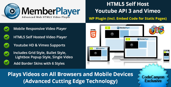 MemberPlayer - HTML5 Video Player - with Grid Style and Lightbox Popups, Youtube & Vimeo Included