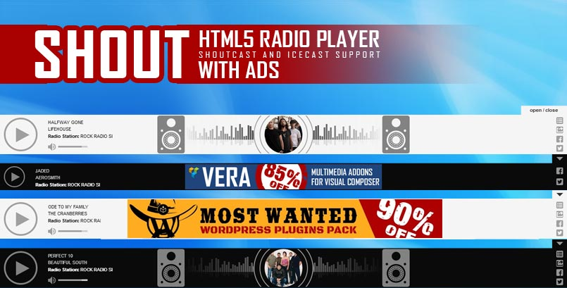 Sticky HTML5 Radio Player Full Width Shoutcast Icecast