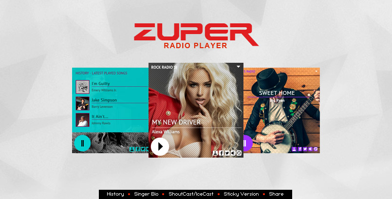 Zuper Radio Player - HTML5 Shoutcast Icecast Radio Player With History - JQ Plugin