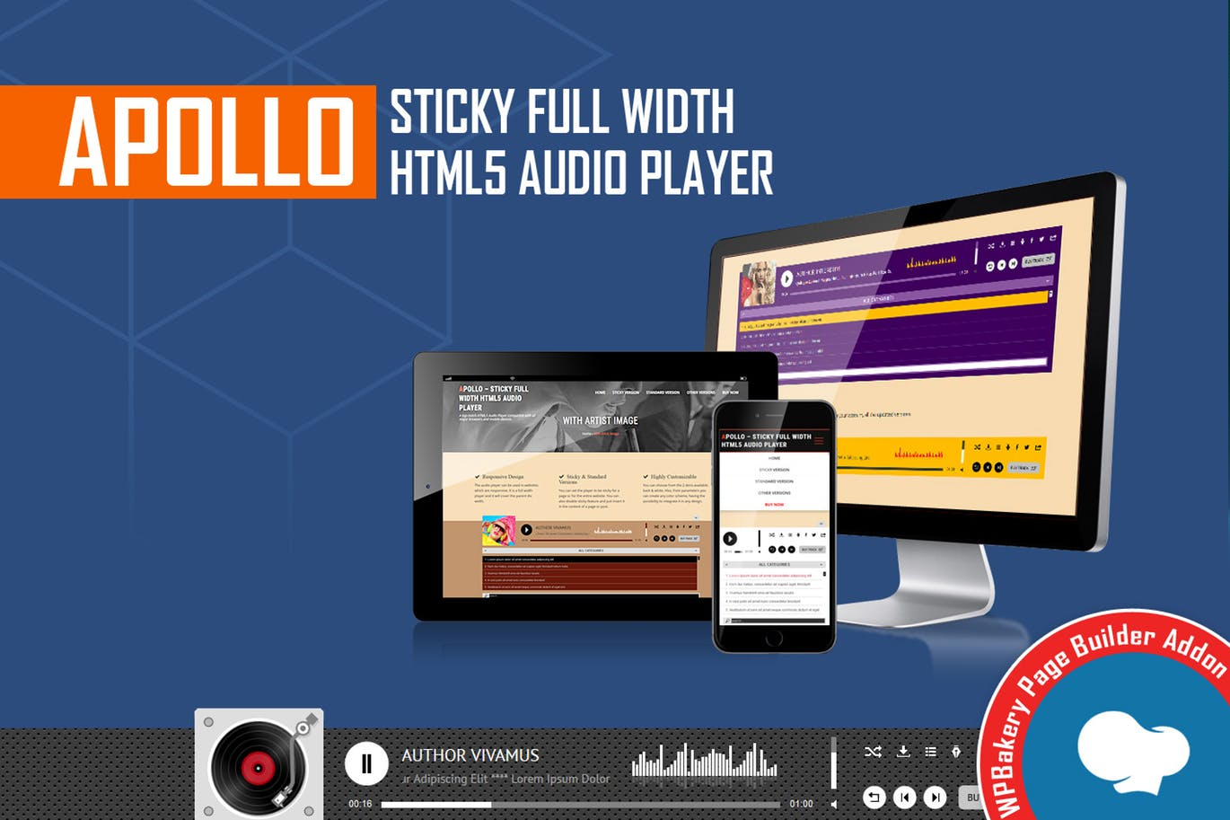 Apollo - Sticky Full Width HTML5 Audio Player - WPBakery Page Builder Addon