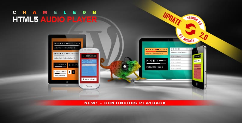 Chameleon Responsive HTML5 Audio Player With/Without Playlist