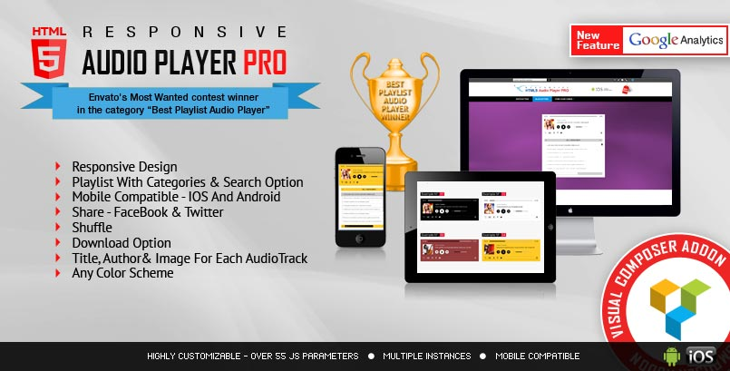 Visual Composer Addon HTML5 Audio Player PRO