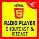 IceCast ShoutCast HTML5 Radio Player With Playlist