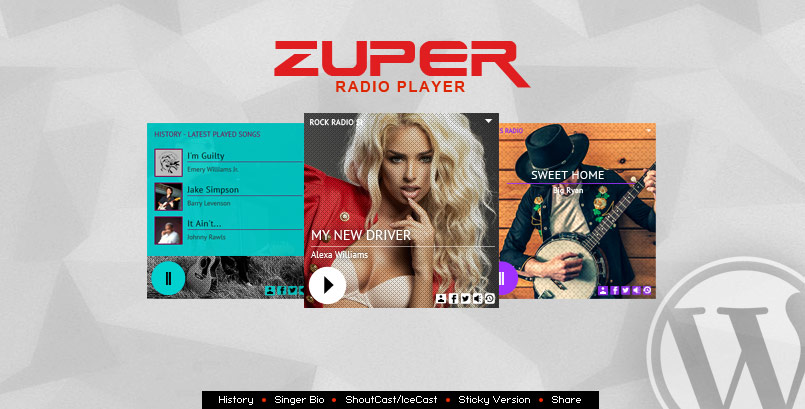 Zuper Radio Player - Shoutcast/Icecast Radio Player With History - WP Plugin